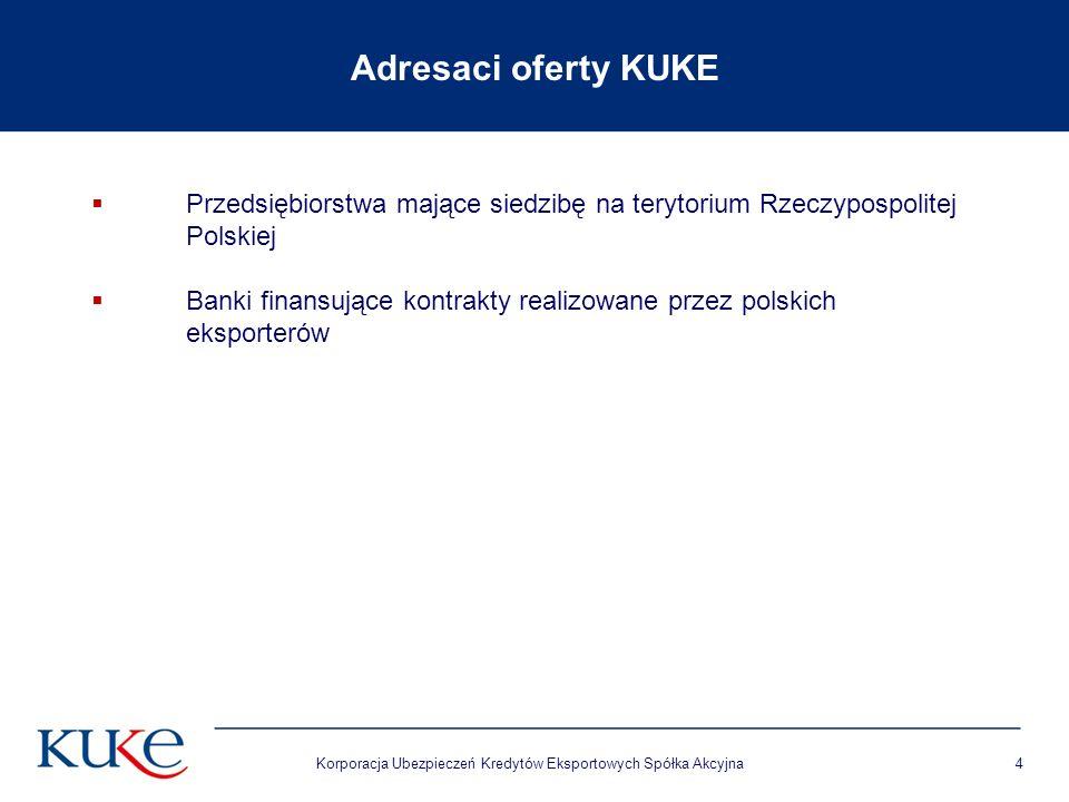 Korporacja Ubezpieczeń Kredytów Eksportowych Spółka Akcyjna4 Adresaci oferty KUKE  Przedsiębiorstwa mające siedzibę na terytorium Rzeczypospolitej Polskiej  Banki finansujące kontrakty realizowane przez polskich eksporterów