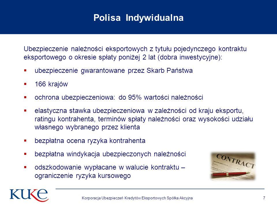 Korporacja Ubezpieczeń Kredytów Eksportowych Spółka Akcyjna7 Polisa Indywidualna Ubezpieczenie należności eksportowych z tytułu pojedynczego kontraktu