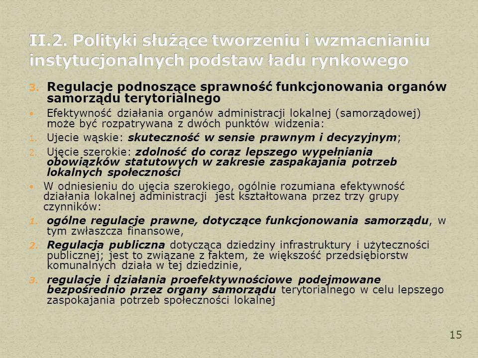 3. Regulacje podnoszące sprawność funkcjonowania organów samorządu terytorialnego Efektywność działania organów administracji lokalnej (samorządowej)