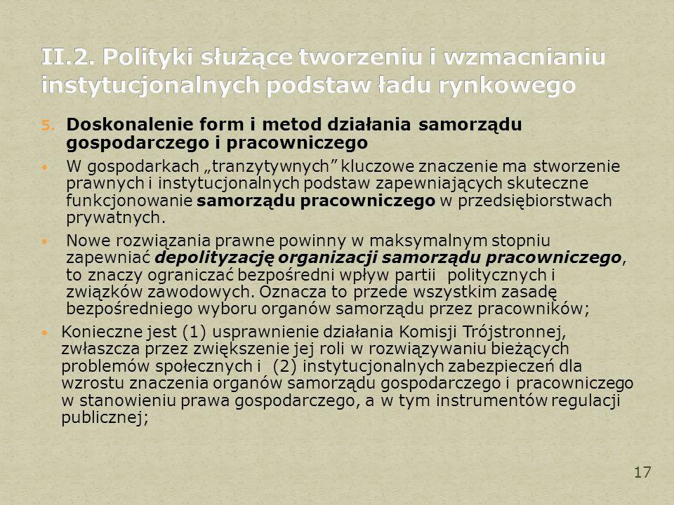 """5. Doskonalenie form i metod działania samorządu gospodarczego i pracowniczego W gospodarkach """"tranzytywnych"""" kluczowe znaczenie ma stworzenie prawnyc"""