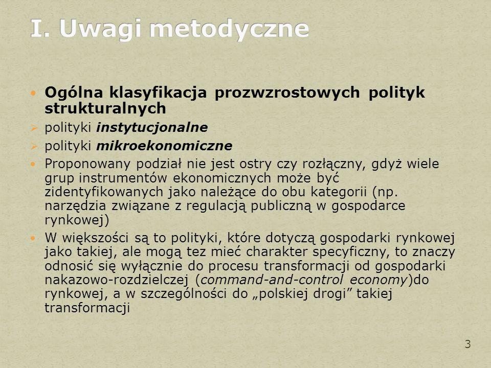 Ogólna klasyfikacja prozwzrostowych polityk strukturalnych  polityki instytucjonalne  polityki mikroekonomiczne Proponowany podział nie jest ostry czy rozłączny, gdyż wiele grup instrumentów ekonomicznych może być zidentyfikowanych jako należące do obu kategorii (np.