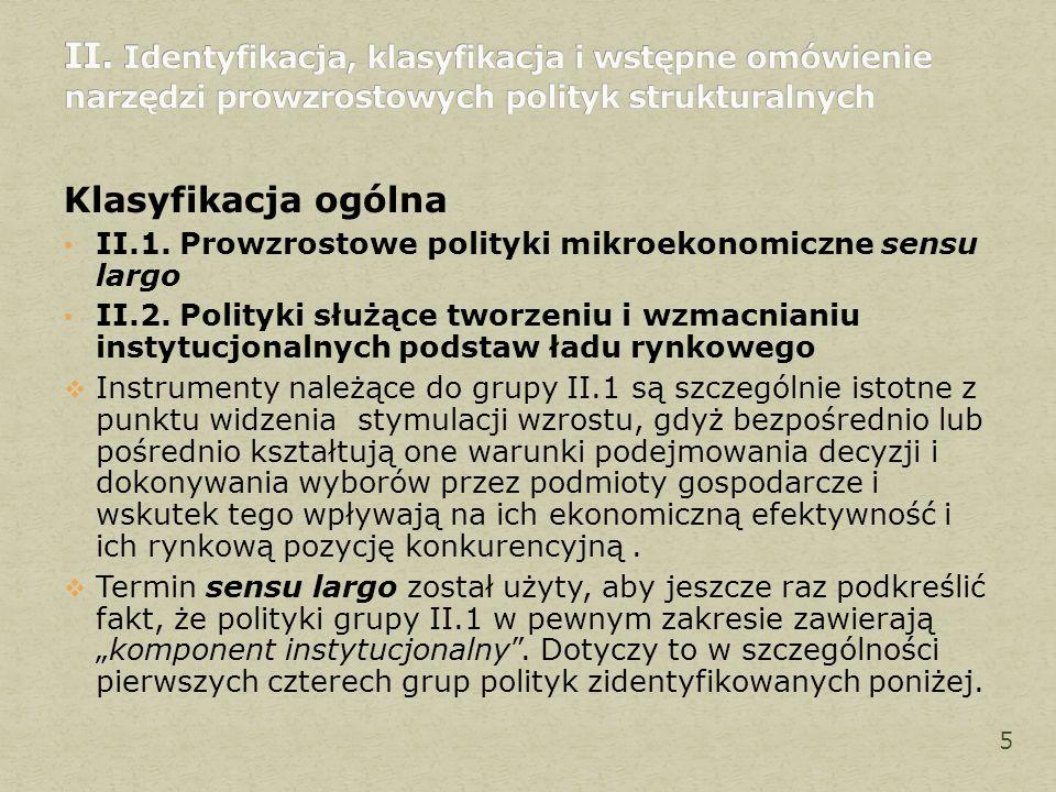 Klasyfikacja ogólna II.1. Prowzrostowe polityki mikroekonomiczne sensu largo II.2. Polityki służące tworzeniu i wzmacnianiu instytucjonalnych podstaw