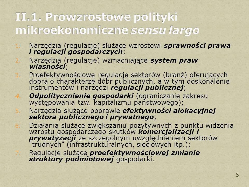 1. Narzędzia (regulacje) służące wzrostowi sprawności prawa i regulacji gospodarczych; 2. Narzędzia (regulacje) wzmacniające system praw własności; 3.