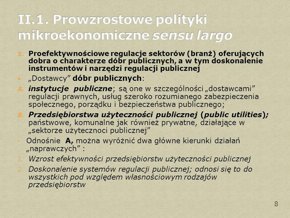 3. Proefektywnościowe regulacje sektorów (branż) oferujących dobra o charakterze dóbr publicznych, a w tym doskonalenie instrumentów i narzędzi regula