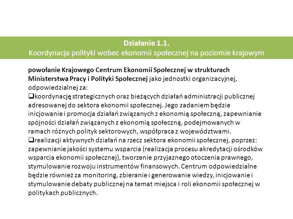 Działanie 1.1. Koordynacja polityki wobec ekonomii społecznej na poziomie krajowym powołanie Krajowego Centrum Ekonomii Społecznej w strukturach Minis