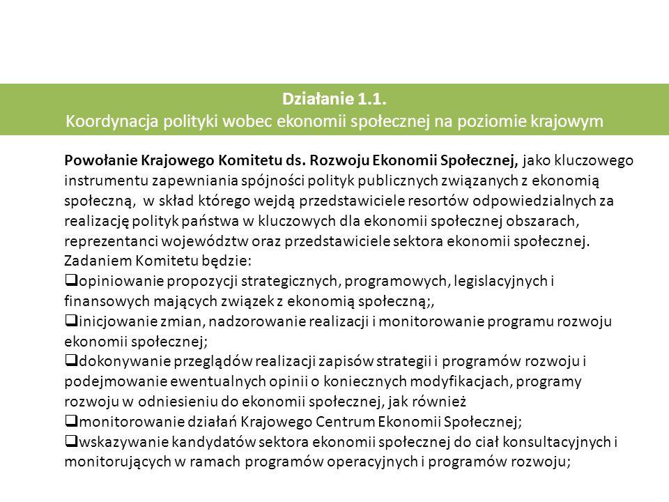 Działanie 1.1. Koordynacja polityki wobec ekonomii społecznej na poziomie krajowym Powołanie Krajowego Komitetu ds. Rozwoju Ekonomii Społecznej, jako