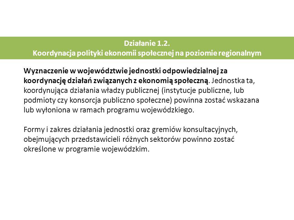 Działanie 1.2. Koordynacja polityki ekonomii społecznej na poziomie regionalnym Wyznaczenie w województwie jednostki odpowiedzialnej za koordynację dz