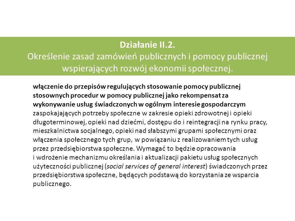 Działanie II.2. Określenie zasad zamówień publicznych i pomocy publicznej wspierających rozwój ekonomii społecznej. włączenie do przepisów regulującyc