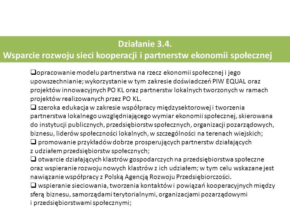 Działanie 3.4. Wsparcie rozwoju sieci kooperacji i partnerstw ekonomii społecznej  opracowanie modelu partnerstwa na rzecz ekonomii społecznej i jego