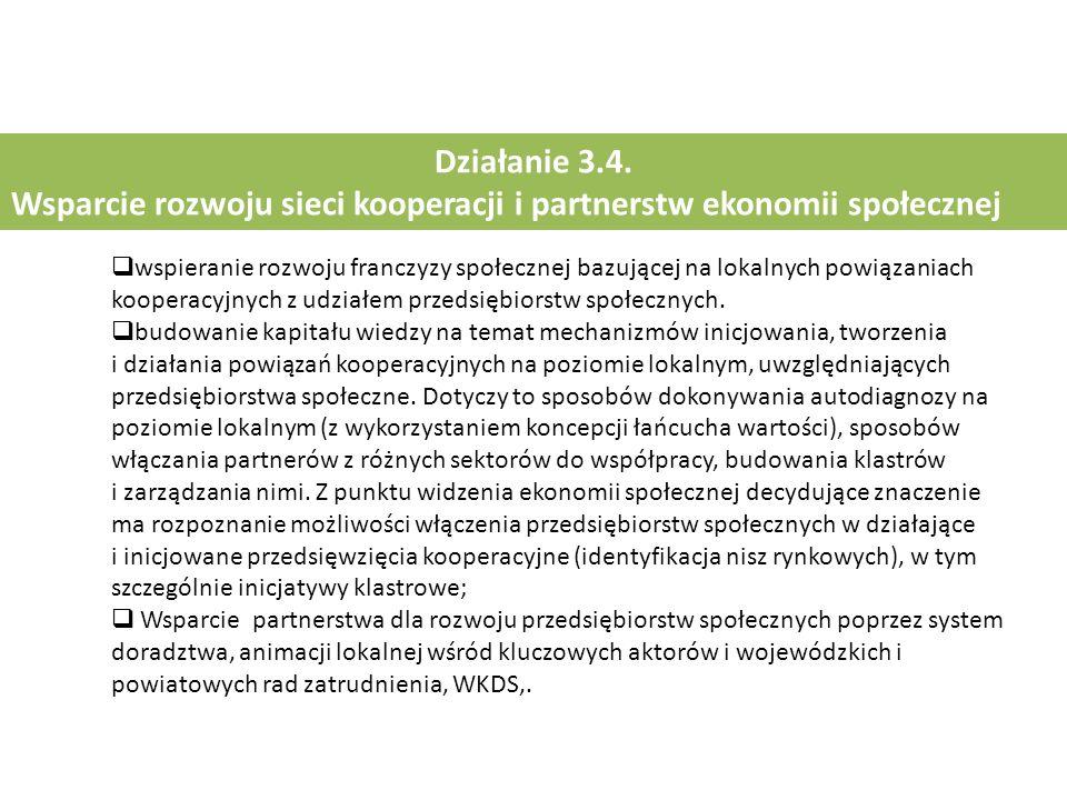 Działanie 3.4. Wsparcie rozwoju sieci kooperacji i partnerstw ekonomii społecznej  wspieranie rozwoju franczyzy społecznej bazującej na lokalnych pow