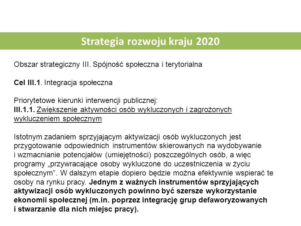Strategia rozwoju kraju 2020 Obszar strategiczny III. Spójność społeczna i terytorialna Cel III.1. Integracja społeczna Priorytetowe kierunki interwen