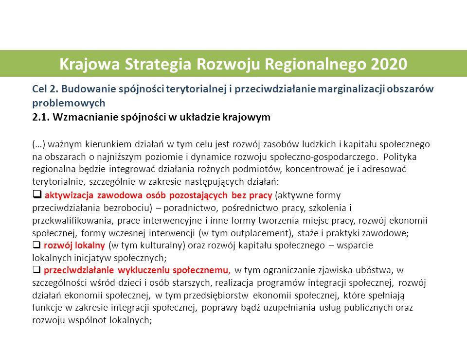Krajowa Strategia Rozwoju Regionalnego 2020 Cel 2. Budowanie spójności terytorialnej i przeciwdziałanie marginalizacji obszarów problemowych 2.1. Wzma