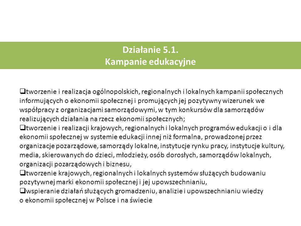 Działanie 5.1. Kampanie edukacyjne  tworzenie i realizacja ogólnopolskich, regionalnych i lokalnych kampanii społecznych informujących o ekonomii spo