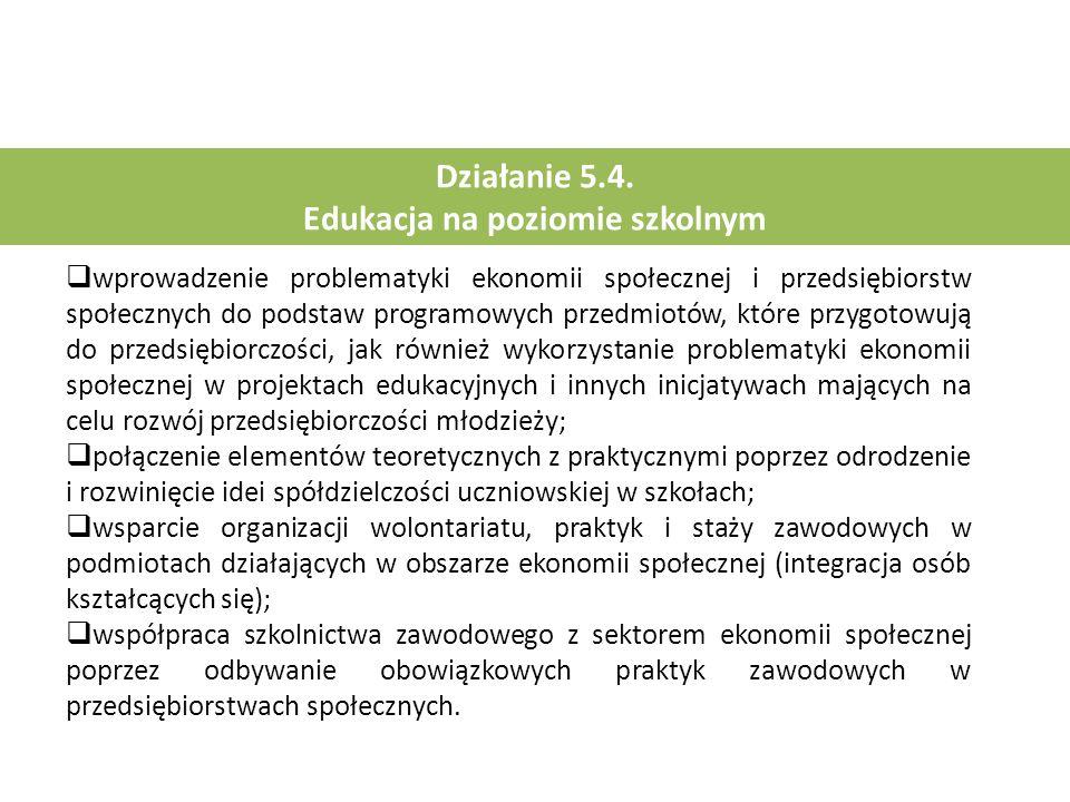 Działanie 5.4. Edukacja na poziomie szkolnym  wprowadzenie problematyki ekonomii społecznej i przedsiębiorstw społecznych do podstaw programowych prz