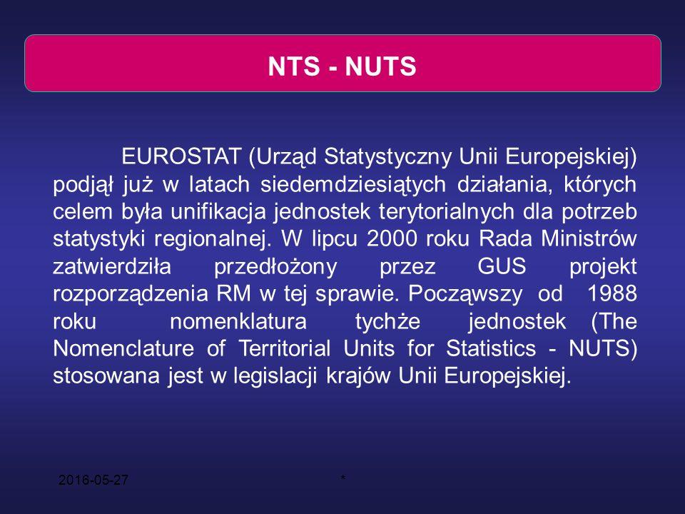 2016-05-27* NTS - NUTS EUROSTAT (Urząd Statystyczny Unii Europejskiej) podjął już w latach siedemdziesiątych działania, których celem była unifikacja jednostek terytorialnych dla potrzeb statystyki regionalnej.