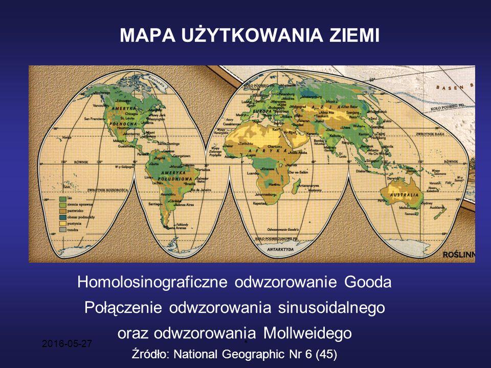2016-05-27* MAPA UŻYTKOWANIA ZIEMI Homolosinograficzne odwzorowanie Gooda Połączenie odwzorowania sinusoidalnego oraz odwzorowania Mollweidego Źródło: National Geographic Nr 6 (45)