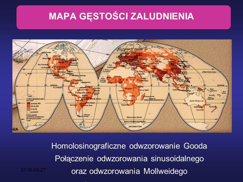 2016-05-27* MAPA GĘSTOŚCI ZALUDNIENIA Homolosinograficzne odwzorowanie Gooda Połączenie odwzorowania sinusoidalnego oraz odwzorowania Mollweidego Źródło: National Geographic Nr 6 (45)