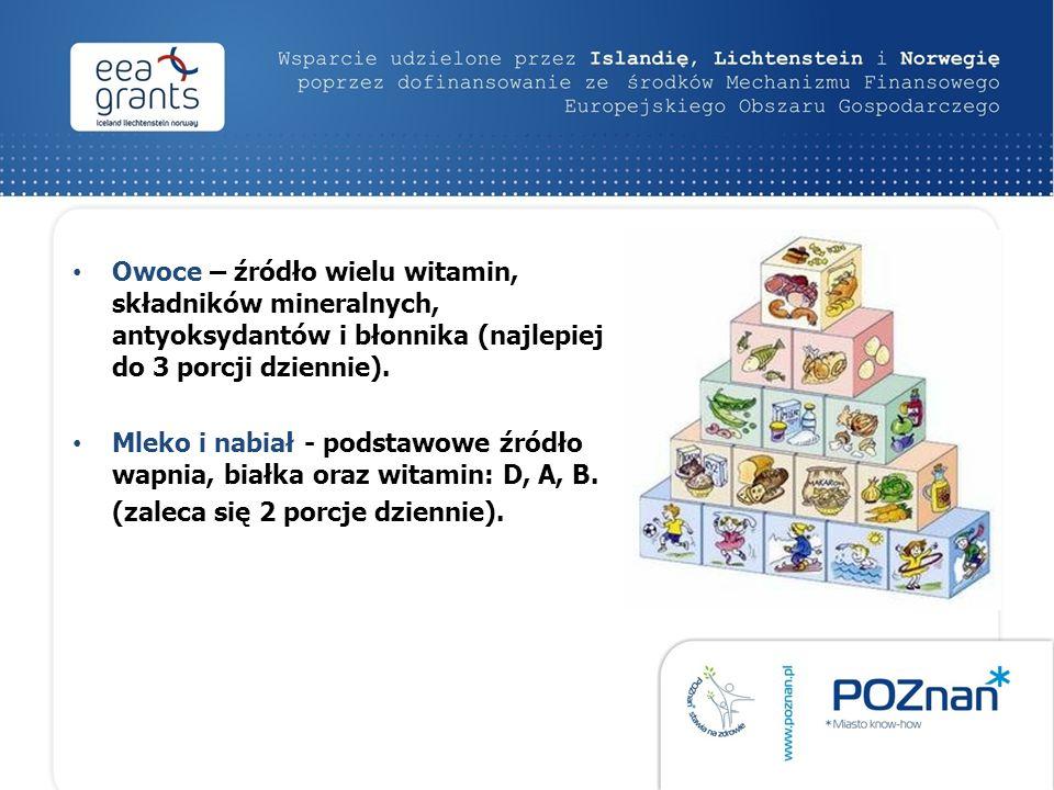 Owoce – źródło wielu witamin, składników mineralnych, antyoksydantów i błonnika (najlepiej do 3 porcji dziennie). Mleko i nabiał - podstawowe źródło w