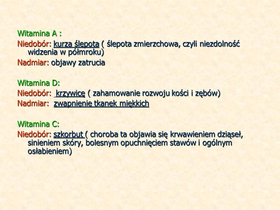 Witamina A : Niedobór: kurza ślepota ( ślepota zmierzchowa, czyli niezdolność widzenia w półmroku) Nadmiar: objawy zatrucia Witamina D: Niedobór: krzywicę ( zahamowanie rozwoju kości i zębów) Nadmiar: zwapnienie tkanek miękkich Witamina C: Niedobór: szkorbut ( choroba ta objawia się krwawieniem dziąseł, sinieniem skóry, bolesnym opuchnięciem stawów i ogólnym osłabieniem)
