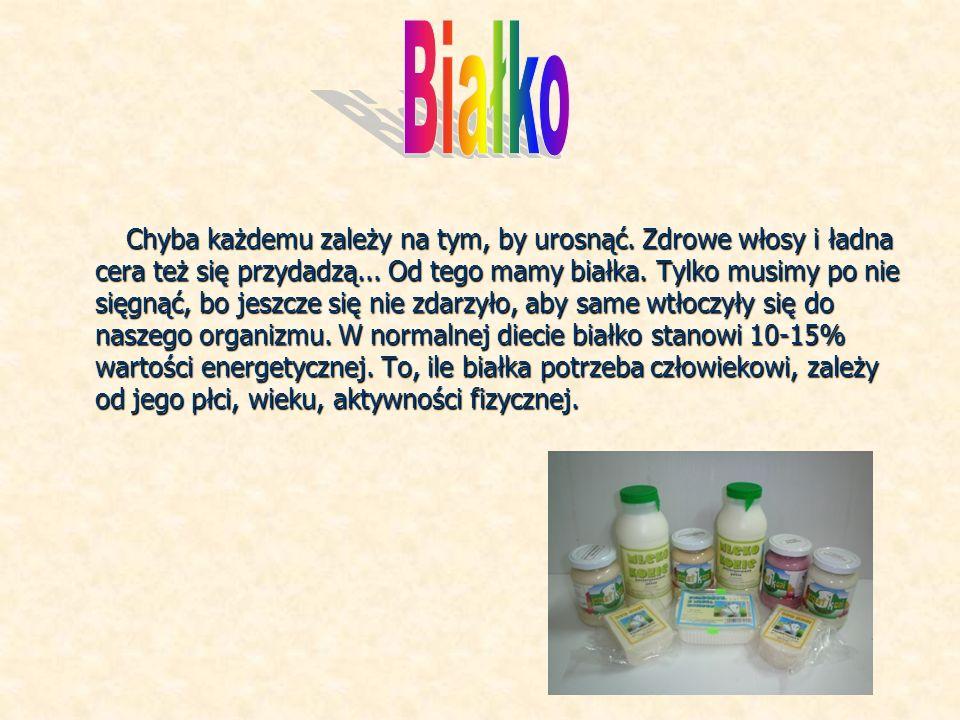 Produkty bogate w białko: -mięso białe (drób, ryby) -mięso czerwone( wołowina, wieprzowina, baranina) -soja-groch-fasola-orzechy -płatki zbożowe -jajka -mleko i produkty mleczne (jogurty, kefiry, sery)
