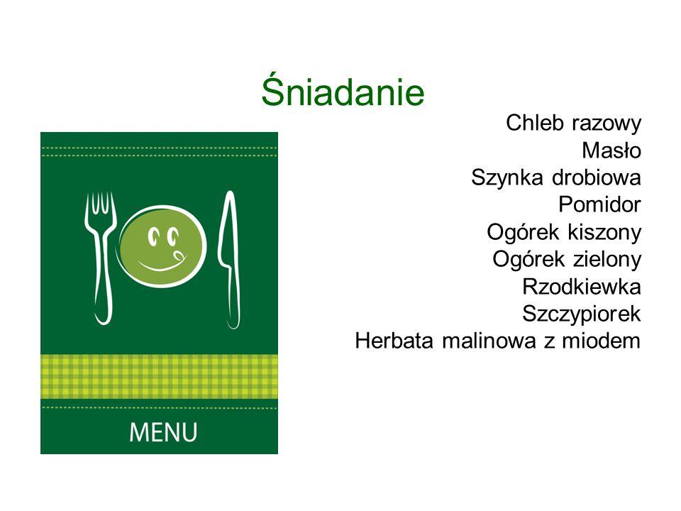 Chleb razowy Masło Szynka drobiowa Pomidor Ogórek kiszony Ogórek zielony Rzodkiewka Szczypiorek Herbata malinowa z miodem Śniadanie