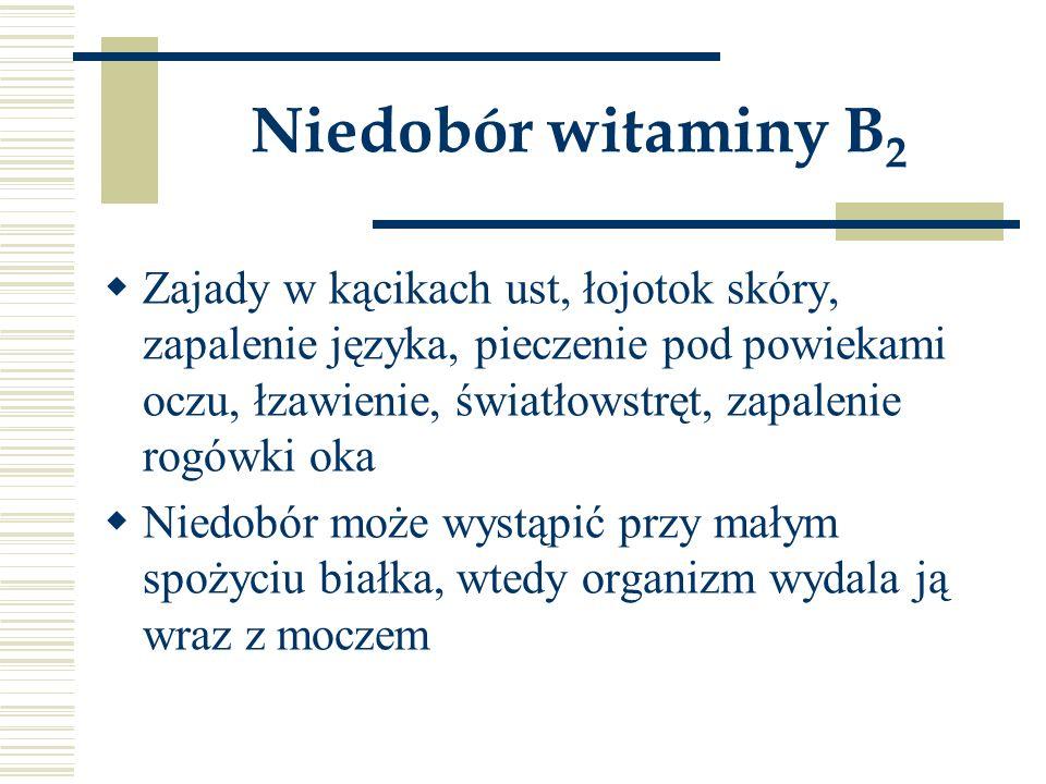 Niedobór witaminy B 2  Zajady w kącikach ust, łojotok skóry, zapalenie języka, pieczenie pod powiekami oczu, łzawienie, światłowstręt, zapalenie rogó