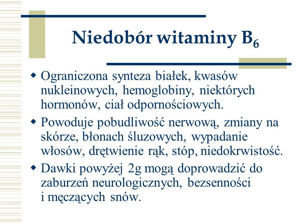 Niedobór witaminy B 6  Ograniczona synteza białek, kwasów nukleinowych, hemoglobiny, niektórych hormonów, ciał odpornościowych.  Powoduje pobudliwoś