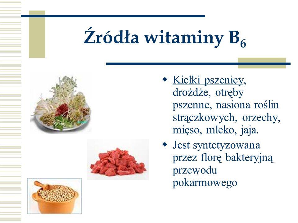 Źródła witaminy B 6  Kiełki pszenicy, drożdże, otręby pszenne, nasiona roślin strączkowych, orzechy, mięso, mleko, jaja.  Jest syntetyzowana przez f