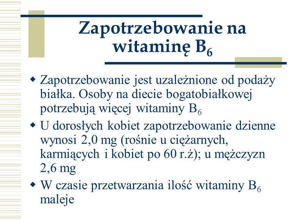 Zapotrzebowanie na witaminę B 6  Zapotrzebowanie jest uzależnione od podaży białka. Osoby na diecie bogatobiałkowej potrzebują więcej witaminy B 6 