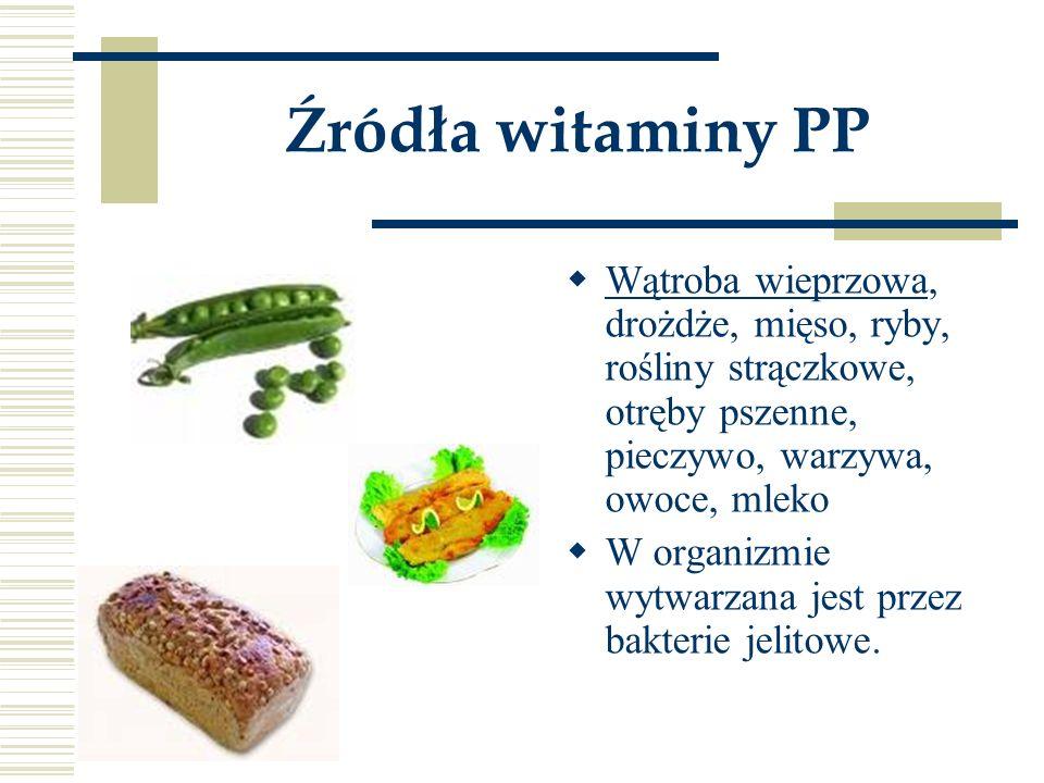 Źródła witaminy PP  Wątroba wieprzowa, drożdże, mięso, ryby, rośliny strączkowe, otręby pszenne, pieczywo, warzywa, owoce, mleko  W organizmie wytwa