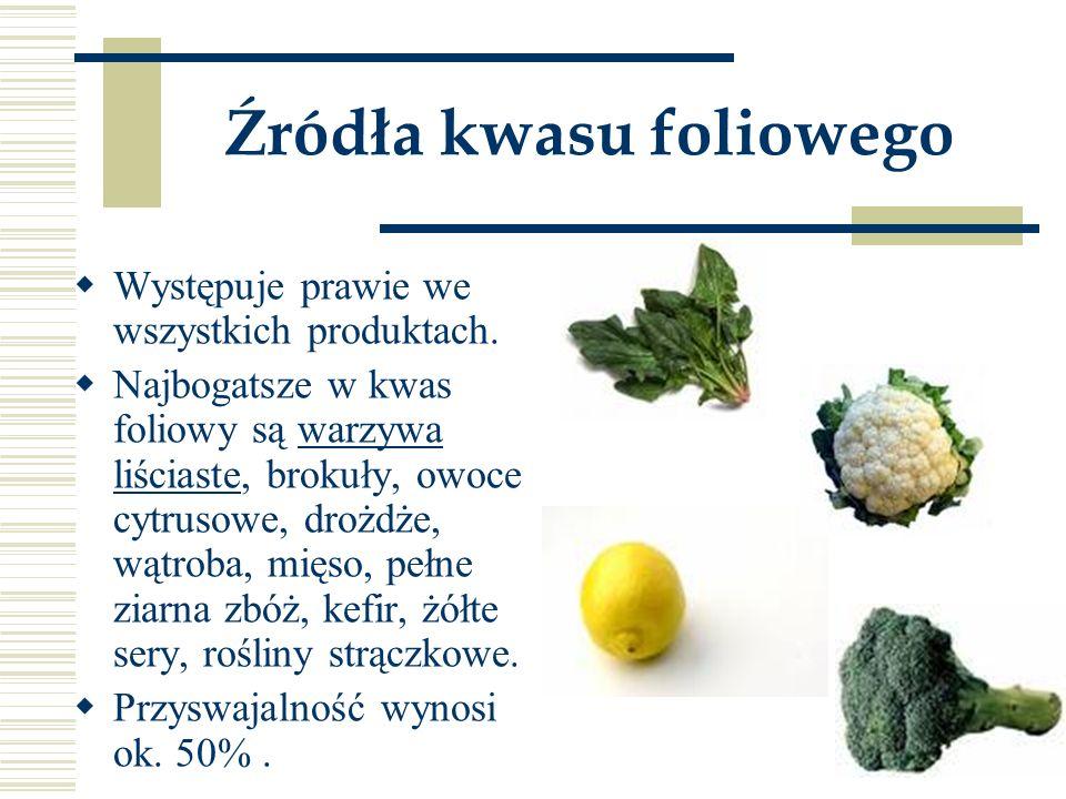 Źródła kwasu foliowego  Występuje prawie we wszystkich produktach.  Najbogatsze w kwas foliowy są warzywa liściaste, brokuły, owoce cytrusowe, drożd