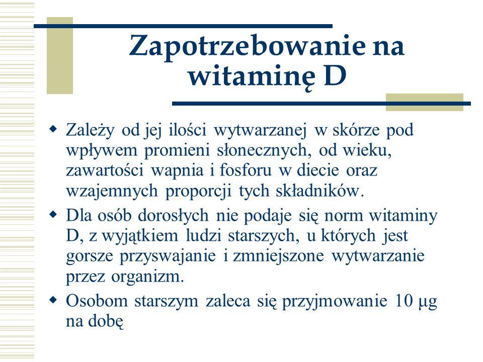 Zapotrzebowanie na witaminę D  Zależy od jej ilości wytwarzanej w skórze pod wpływem promieni słonecznych, od wieku, zawartości wapnia i fosforu w di