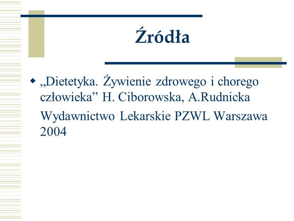 """Źródła  """"Dietetyka. Żywienie zdrowego i chorego człowieka"""" H. Ciborowska, A.Rudnicka Wydawnictwo Lekarskie PZWL Warszawa 2004"""