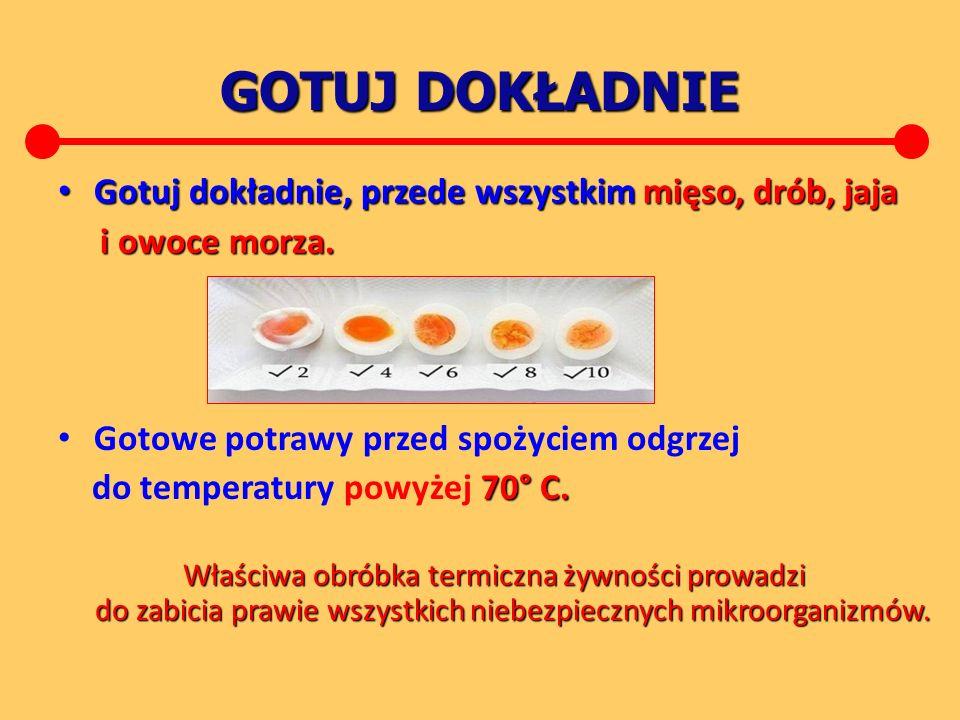 GOTUJ DOKŁADNIE Gotuj dokładnie, przede wszystkimmięso, drób, jaja Gotuj dokładnie, przede wszystkim mięso, drób, jaja i owoce morza.