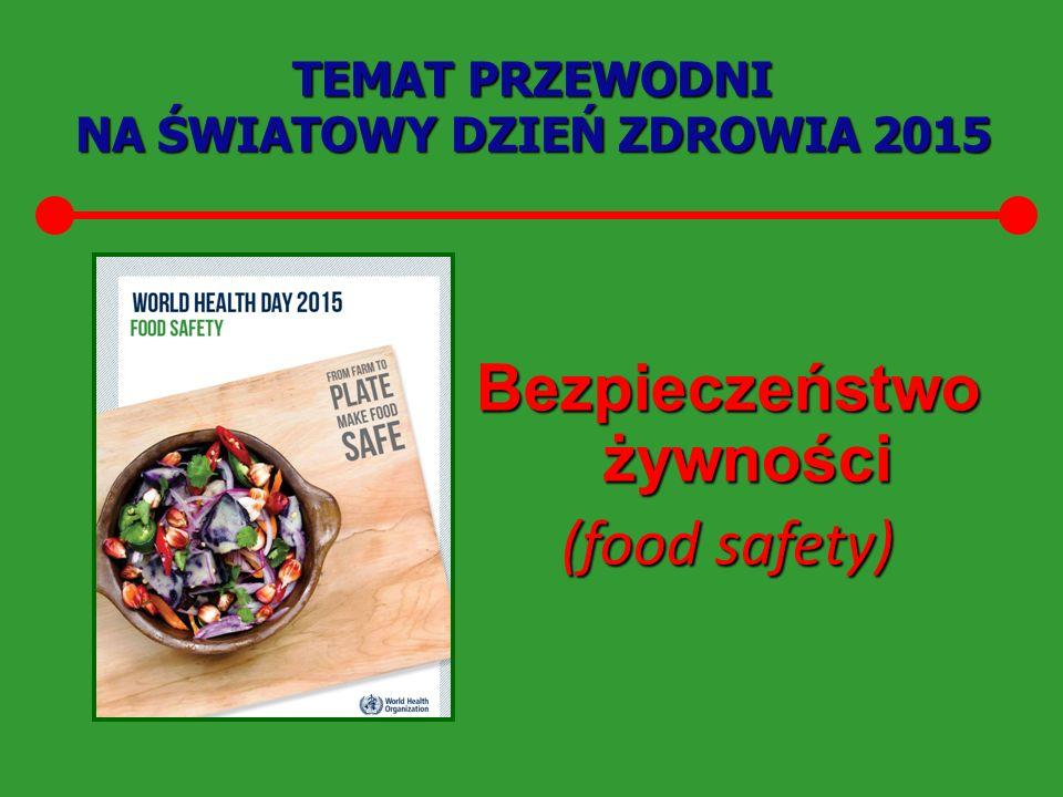 TEMAT PRZEWODNI NA ŚWIATOWY DZIEŃ ZDROWIA 2015 Bezpieczeństwo żywności (food safety)