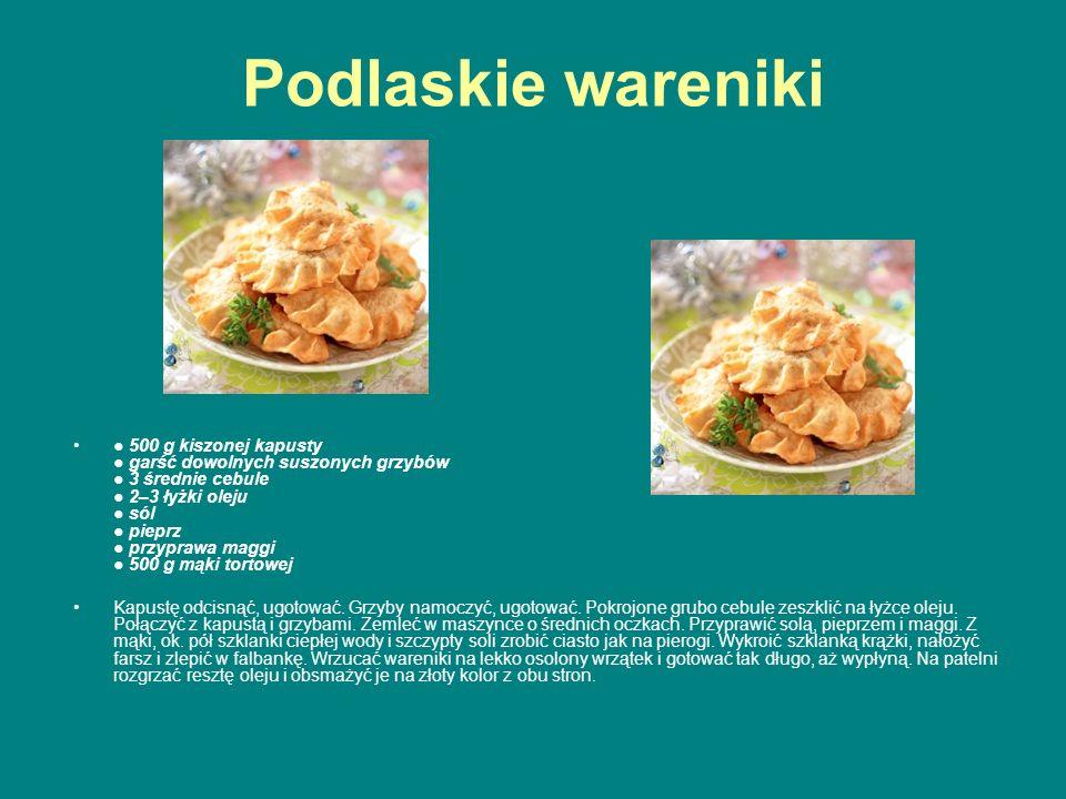 Podlaskie wareniki ● 500 g kiszonej kapusty ● garść dowolnych suszonych grzybów ● 3 średnie cebule ● 2–3 łyżki oleju ● sól ● pieprz ● przyprawa maggi