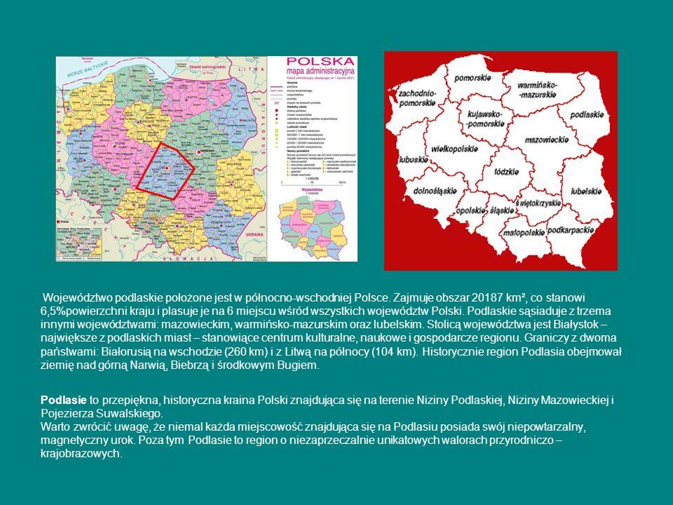 Województwo podlaskie położone jest w północno-wschodniej Polsce. Zajmuje obszar 20187 km², co stanowi 6,5%powierzchni kraju i plasuje je na 6 miejscu