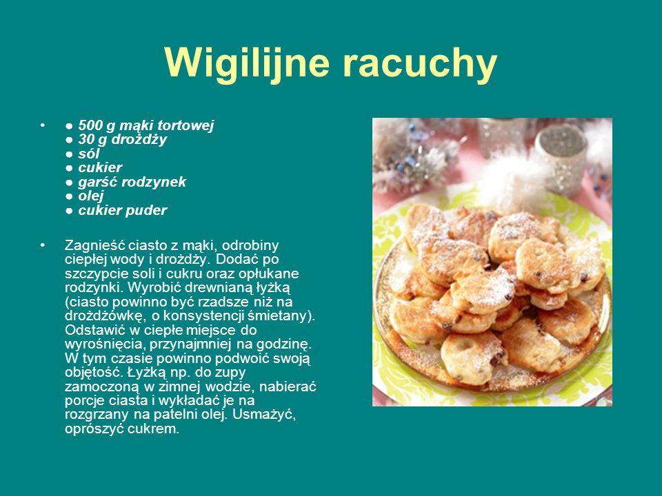 Wigilijne racuchy ● 500 g mąki tortowej ● 30 g drożdży ● sól ● cukier ● garść rodzynek ● olej ● cukier puder Zagnieść ciasto z mąki, odrobiny ciepłej
