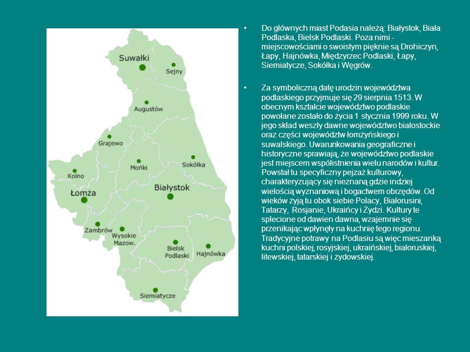Do głównych miast Podasia należą: Białystok, Biała Podlaska, Bielsk Podlaski. Poza nimi - miejscowościami o swoistym pięknie są Drohiczyn, Łapy, Hajnó