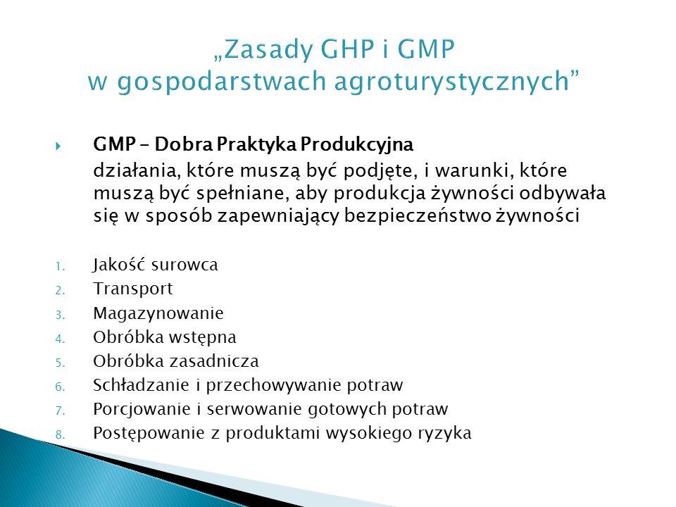  GMP – Dobra Praktyka Produkcyjna działania, które muszą być podjęte, i warunki, które muszą być spełniane, aby produkcja żywności odbywała się w sposób zapewniający bezpieczeństwo żywności 1.