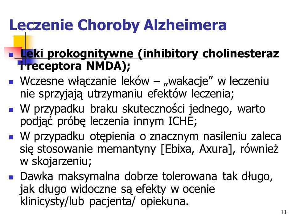 """11 Leczenie Choroby Alzheimera Leki prokognitywne (inhibitory cholinesteraz i receptora NMDA); Wczesne włączanie leków – """"wakacje w leczeniu nie sprzyjają utrzymaniu efektów leczenia; W przypadku braku skuteczności jednego, warto podjąć próbę leczenia innym ICHE; W przypadku otępienia o znacznym nasileniu zaleca się stosowanie memantyny [Ebixa, Axura], również w skojarzeniu; Dawka maksymalna dobrze tolerowana tak długo, jak długo widoczne są efekty w ocenie klinicysty/lub pacjenta/ opiekuna."""