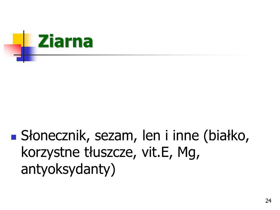 Ziarna Słonecznik, sezam, len i inne (białko, korzystne tłuszcze, vit.E, Mg, antyoksydanty) 24