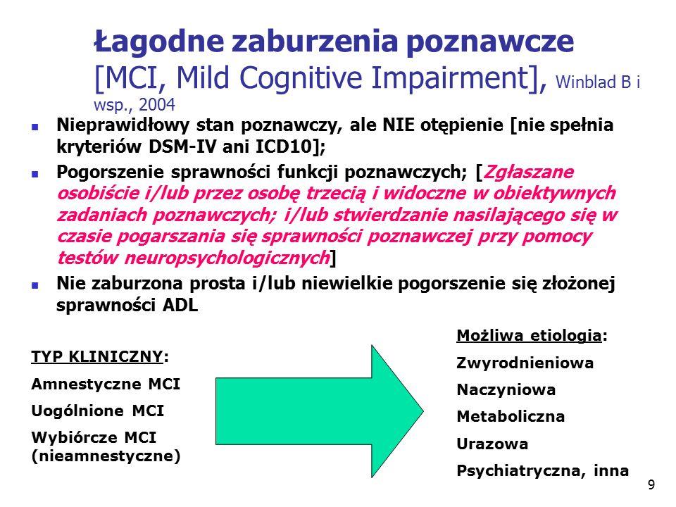 9 Łagodne zaburzenia poznawcze [MCI, Mild Cognitive Impairment], Winblad B i wsp., 2004 Nieprawidłowy stan poznawczy, ale NIE otępienie [nie spełnia kryteriów DSM-IV ani ICD10]; Pogorszenie sprawności funkcji poznawczych; [Zgłaszane osobiście i/lub przez osobę trzecią i widoczne w obiektywnych zadaniach poznawczych; i/lub stwierdzanie nasilającego się w czasie pogarszania się sprawności poznawczej przy pomocy testów neuropsychologicznych] Nie zaburzona prosta i/lub niewielkie pogorszenie się złożonej sprawności ADL TYP KLINICZNY: Amnestyczne MCI Uogólnione MCI Wybiórcze MCI (nieamnestyczne) Możliwa etiologia: Zwyrodnieniowa Naczyniowa Metaboliczna Urazowa Psychiatryczna, inna