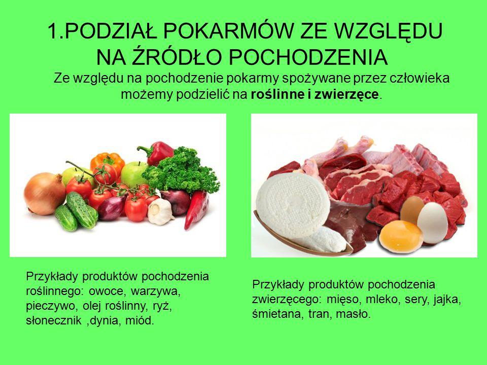 1.PODZIAŁ POKARMÓW ZE WZGLĘDU NA ŹRÓDŁO POCHODZENIA Ze względu na pochodzenie pokarmy spożywane przez człowieka możemy podzielić na roślinne i zwierzę