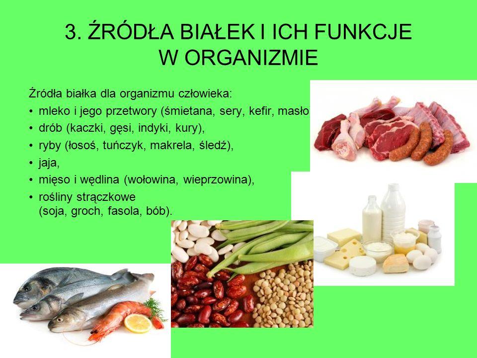 3. ŹRÓDŁA BIAŁEK I ICH FUNKCJE W ORGANIZMIE Źródła białka dla organizmu człowieka: mleko i jego przetwory (śmietana, sery, kefir, masło), drób (kaczki