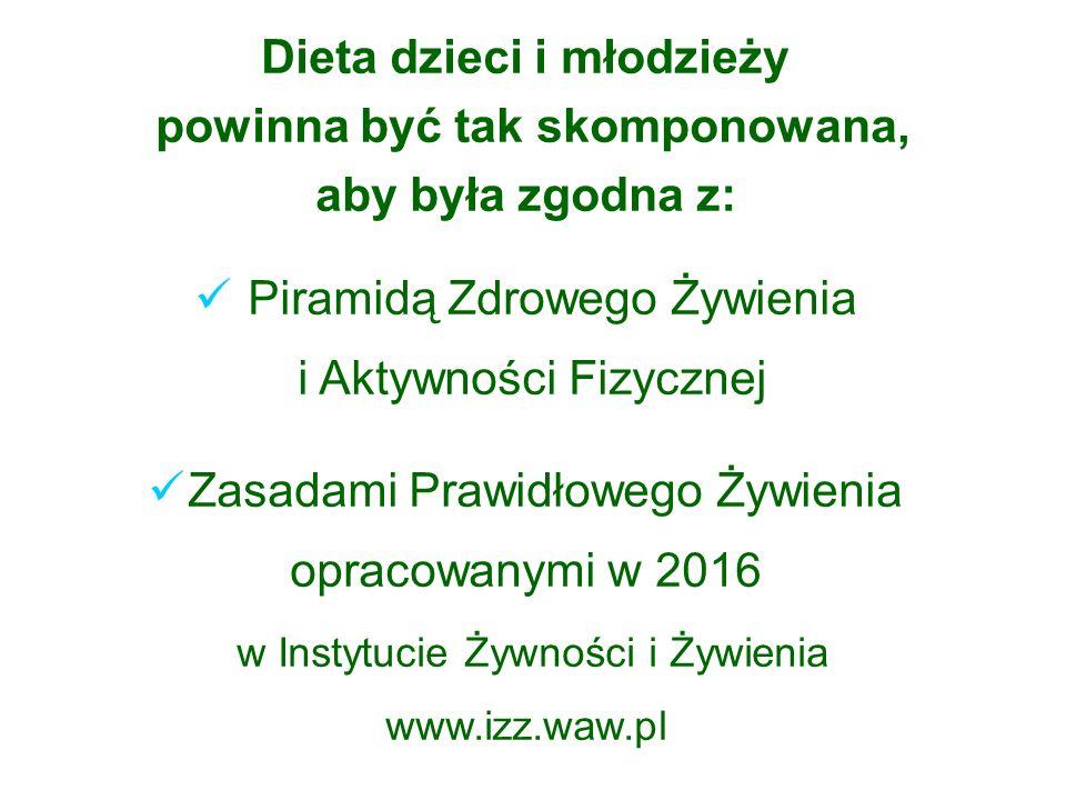 Dieta dzieci i młodzieży powinna być tak skomponowana, aby była zgodna z: Piramidą Zdrowego Żywienia i Aktywności Fizycznej Zasadami Prawidłowego Żywienia opracowanymi w 2016 w Instytucie Żywności i Żywienia www.izz.waw.pl