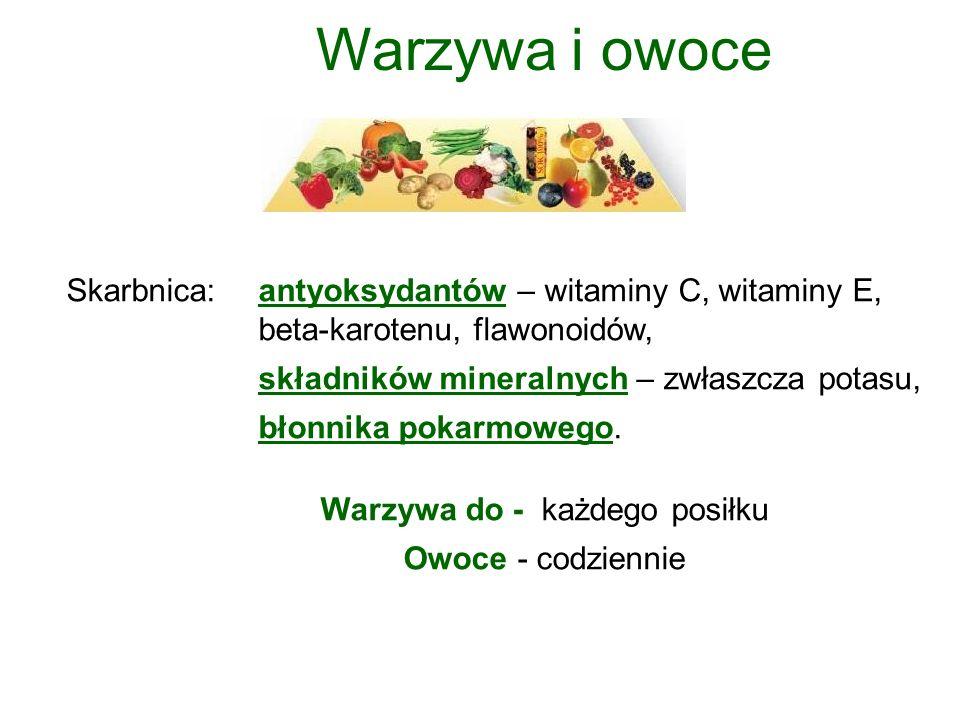 Warzywa i owoce Skarbnica: antyoksydantów – witaminy C, witaminy E, beta-karotenu, flawonoidów, składników mineralnych – zwłaszcza potasu, błonnika pokarmowego.