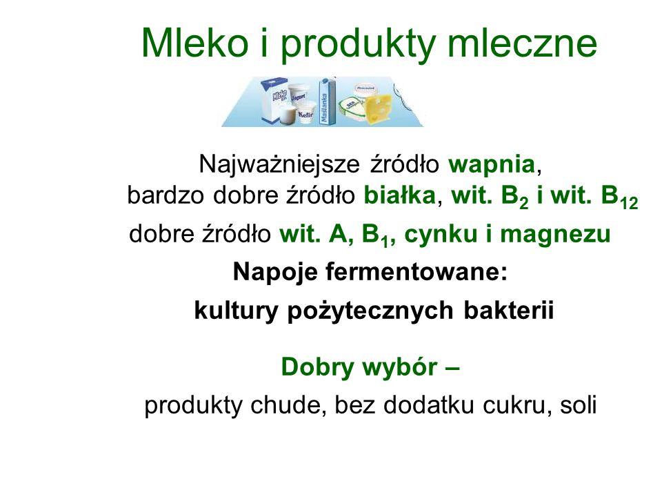 Mleko i produkty mleczne Najważniejsze źródło wapnia, bardzo dobre źródło białka, wit.