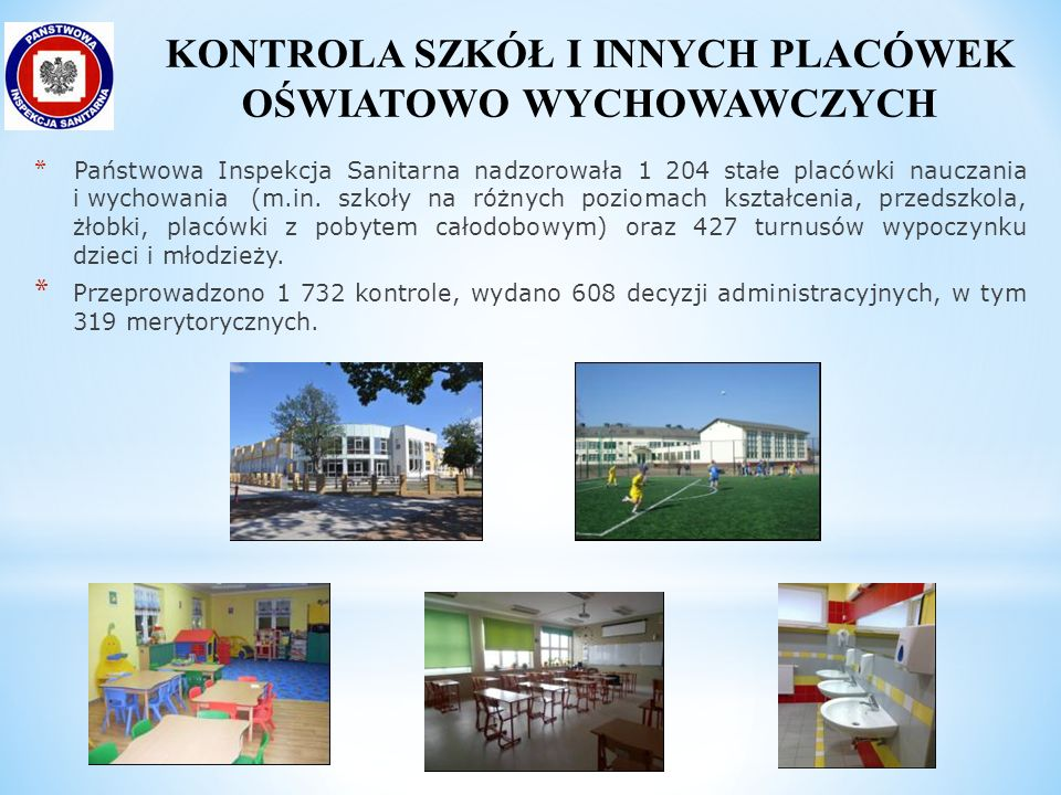 * Państwowa Inspekcja Sanitarna nadzorowała 1 204 stałe placówki nauczania i wychowania (m.in. szkoły na różnych poziomach kształcenia, przedszkola, ż
