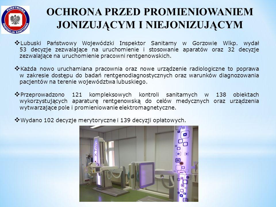  Lubuski Państwowy Wojewódzki Inspektor Sanitarny w Gorzowie Wlkp. wydał 53 decyzje zezwalające na uruchomienie i stosowanie aparatów oraz 32 decyzje